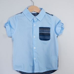 Other - Blue Aztec top and pocket with collar and buttons